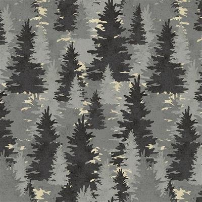Wild Life Flannel - Pines - Pewter