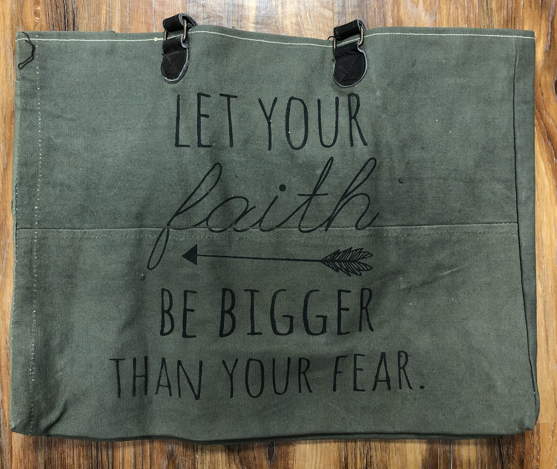 Faith Bigger Than Fear Tent Canvas Market Tote