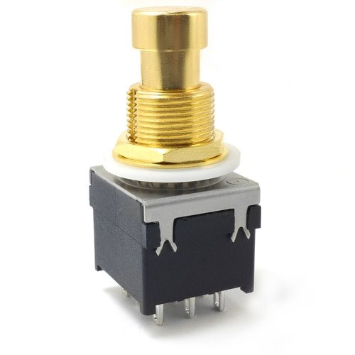 3PDT Latched Foot Switch - Solder Lugs - Gold Tops