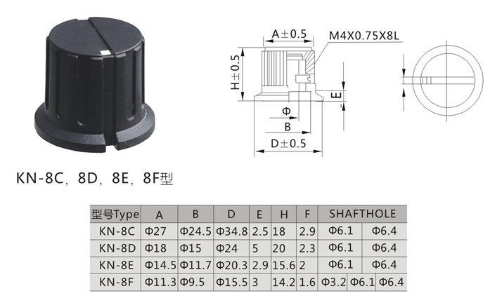 KN8F BLACK KNOB 16X15MM
