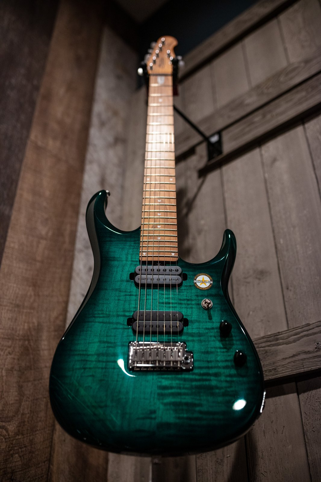 Sterling Signature in Flame Maple Teal Burst, 7 String Electric Guitar JP157FM-TL