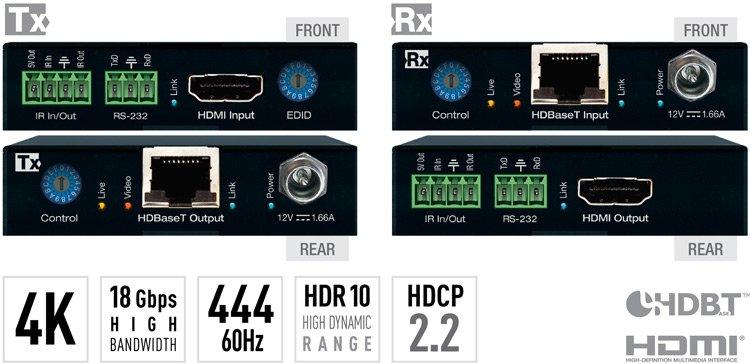 Key Digital 4K/18G HDBaseT POH Extenders (Includes KIT Tx/Rx 4K/40meters 1080P/70meters) KD-X444S