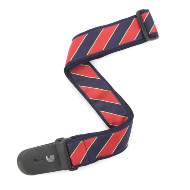 D'Addario Woven Guitar Strap, Tie Stripes, Blue & Red
