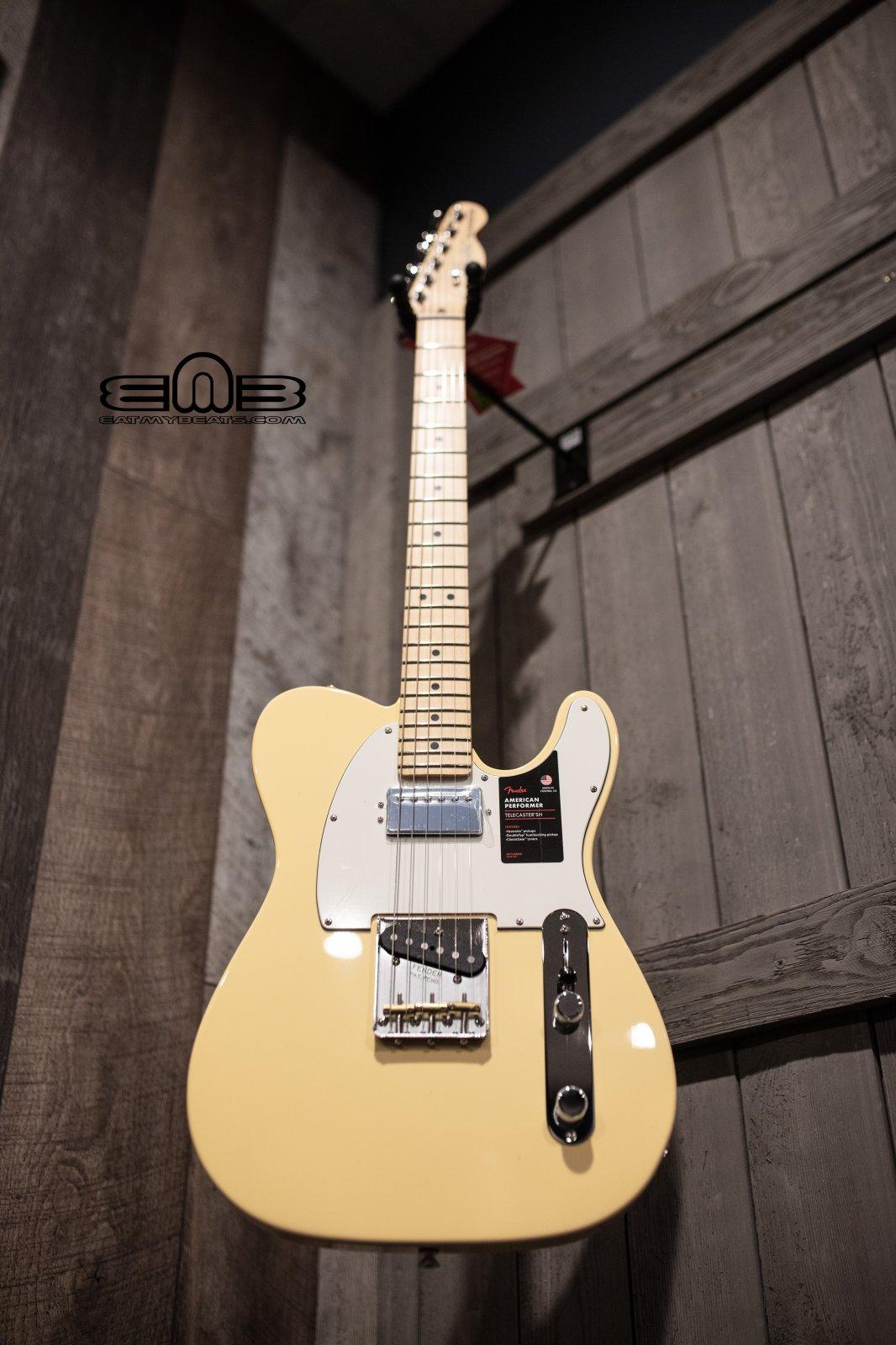 Fender 0115112341 American Performer Telecaster, Maple Fingerboard, Vintage White Electric Guitar