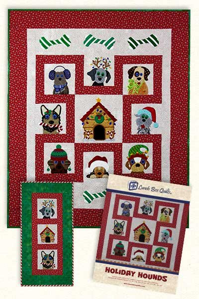 Holiday Hounds Embroidery Design by Lunchbox Quilts
