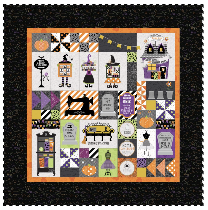 Hometown Halloween Candy Corn Quilt Shoppe Kit - Fabric Only