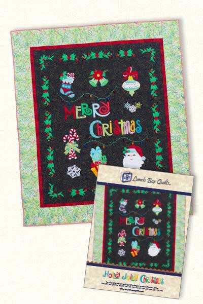 Holly Jolly Christmas Embroidery Design by Lunchbox Quilts