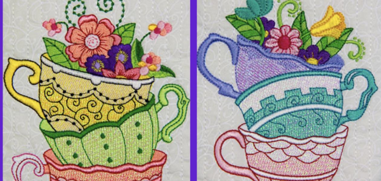 Mylar Teacups Embroidery Design