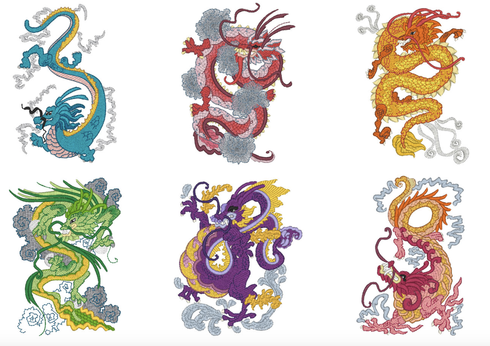 Mylar Chinese Dragons Embroidery Design