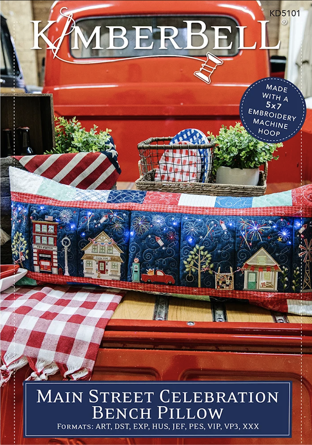 Main Street Bench Pillow Sewing OR Embroidery Design