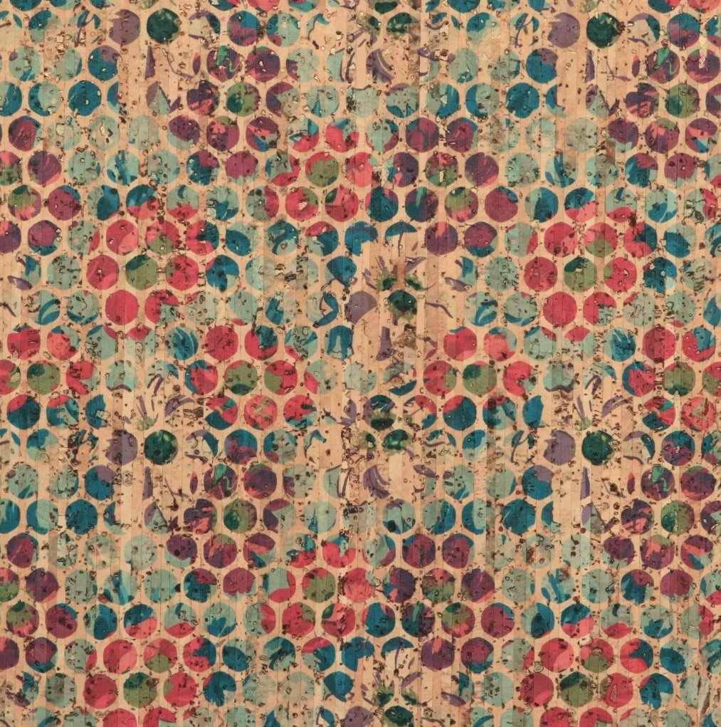Sallie Tomato PRO Gold Flecked Grunge Floral Dot Cork Fabric (Sold by the inch)