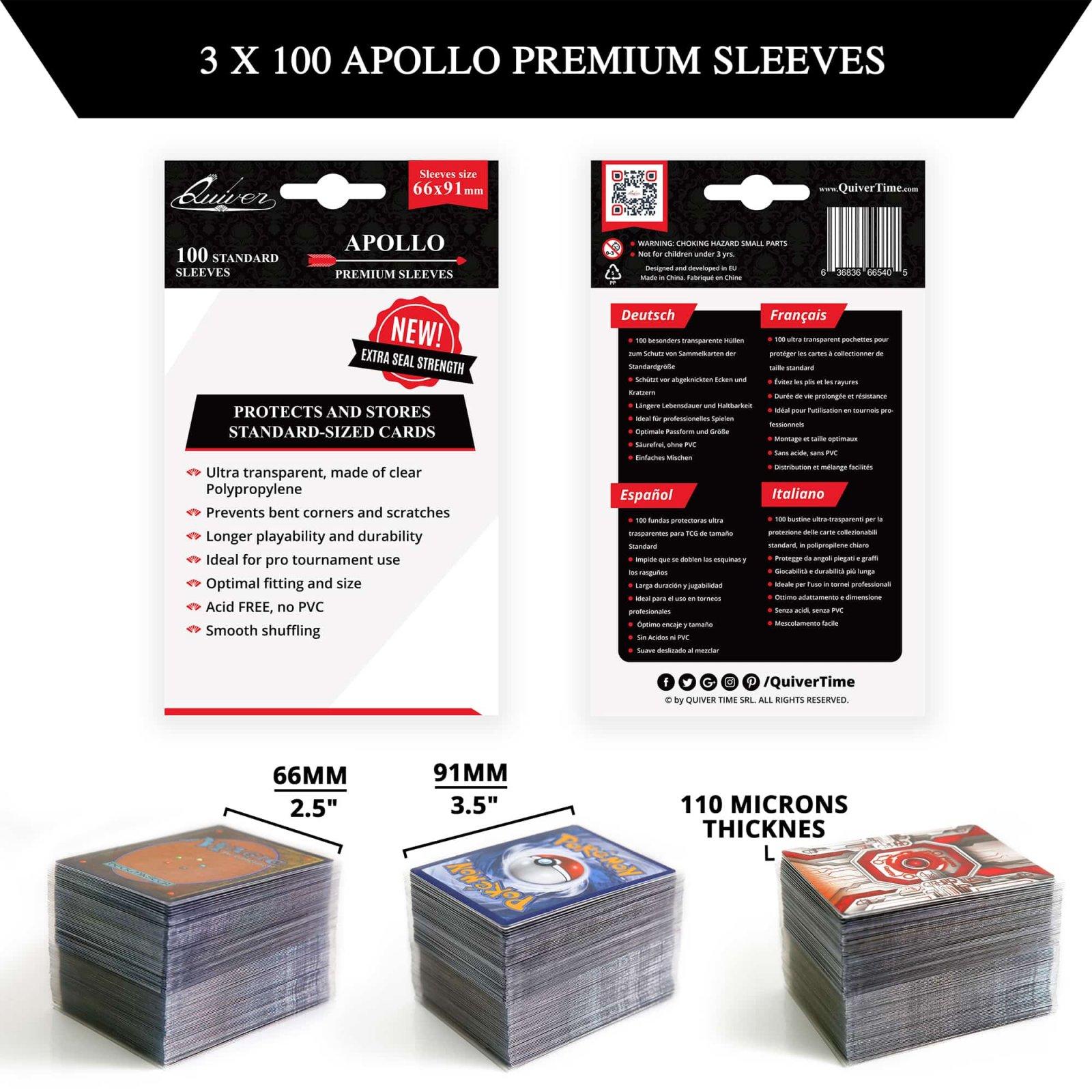 Quiver, Apollo Premium Sleeves - 100ct - 66 X 91