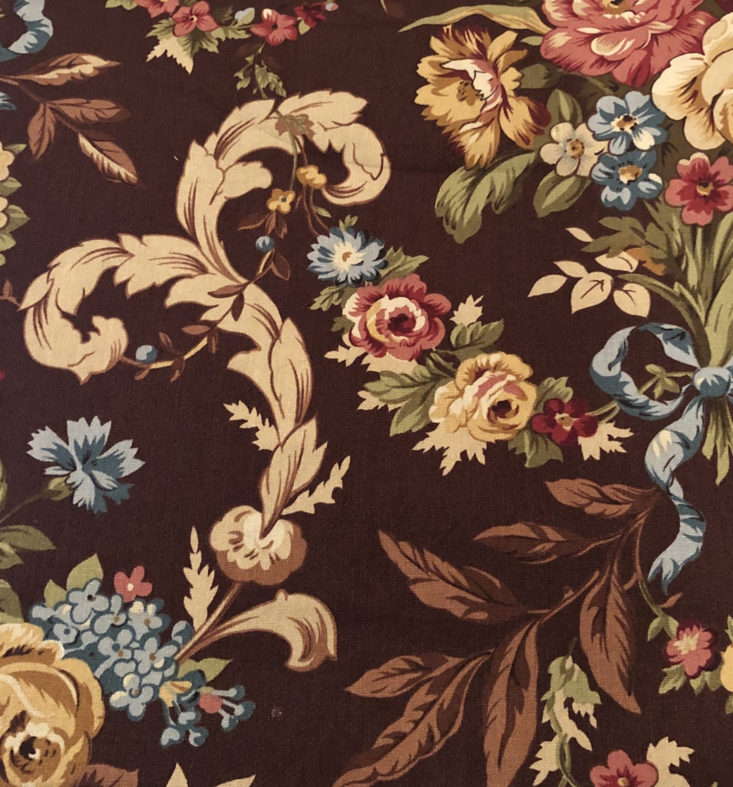 Brown with Floral Design - 2 1/2 yds