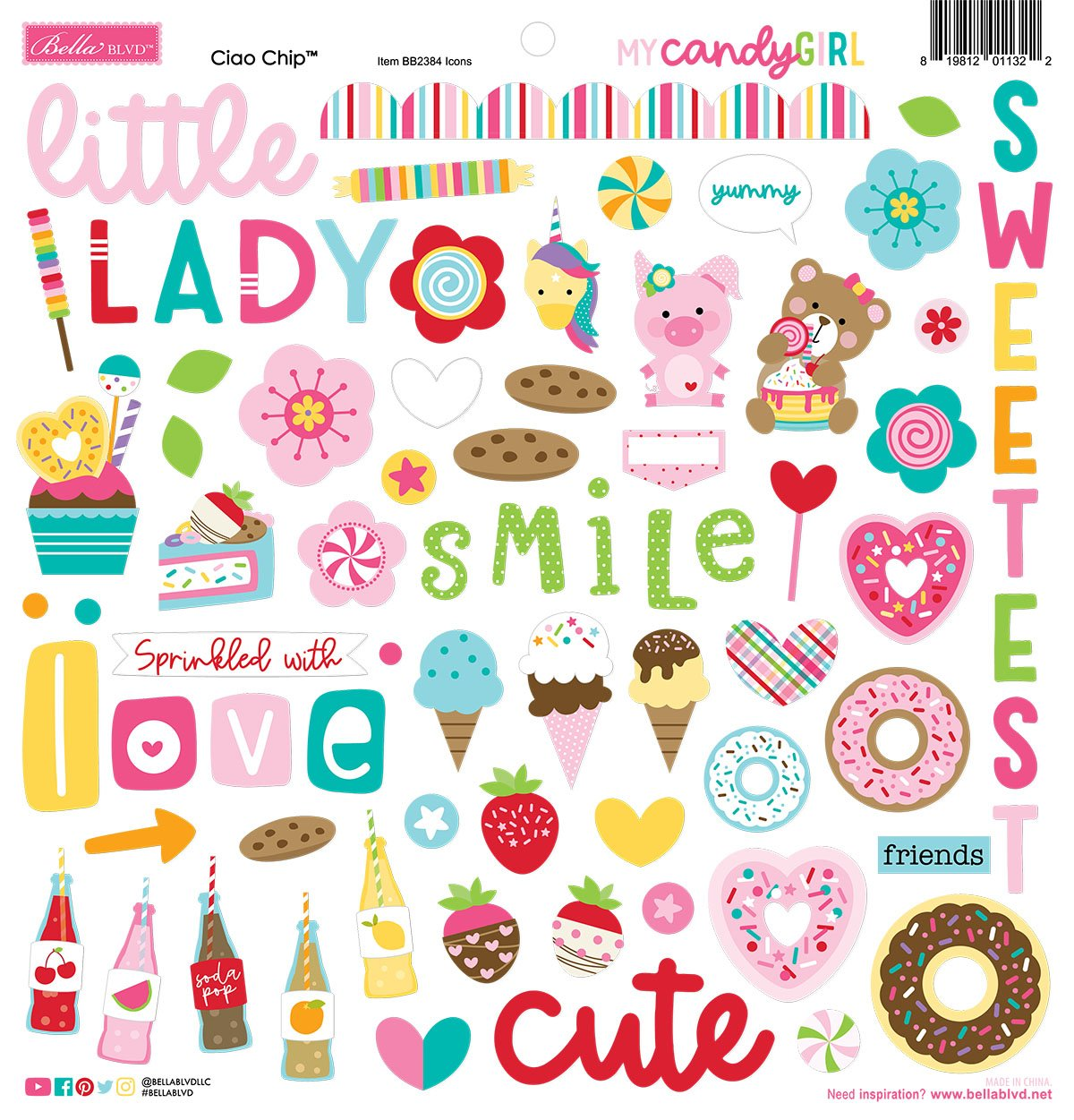 My Candy Girl Chipboard Icons