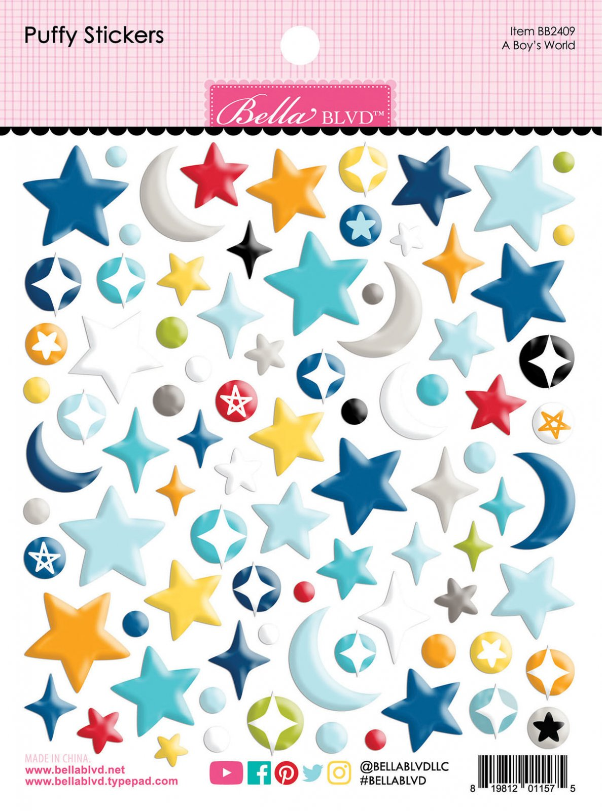 To The Moon - A Boy's World Puffy Stickers