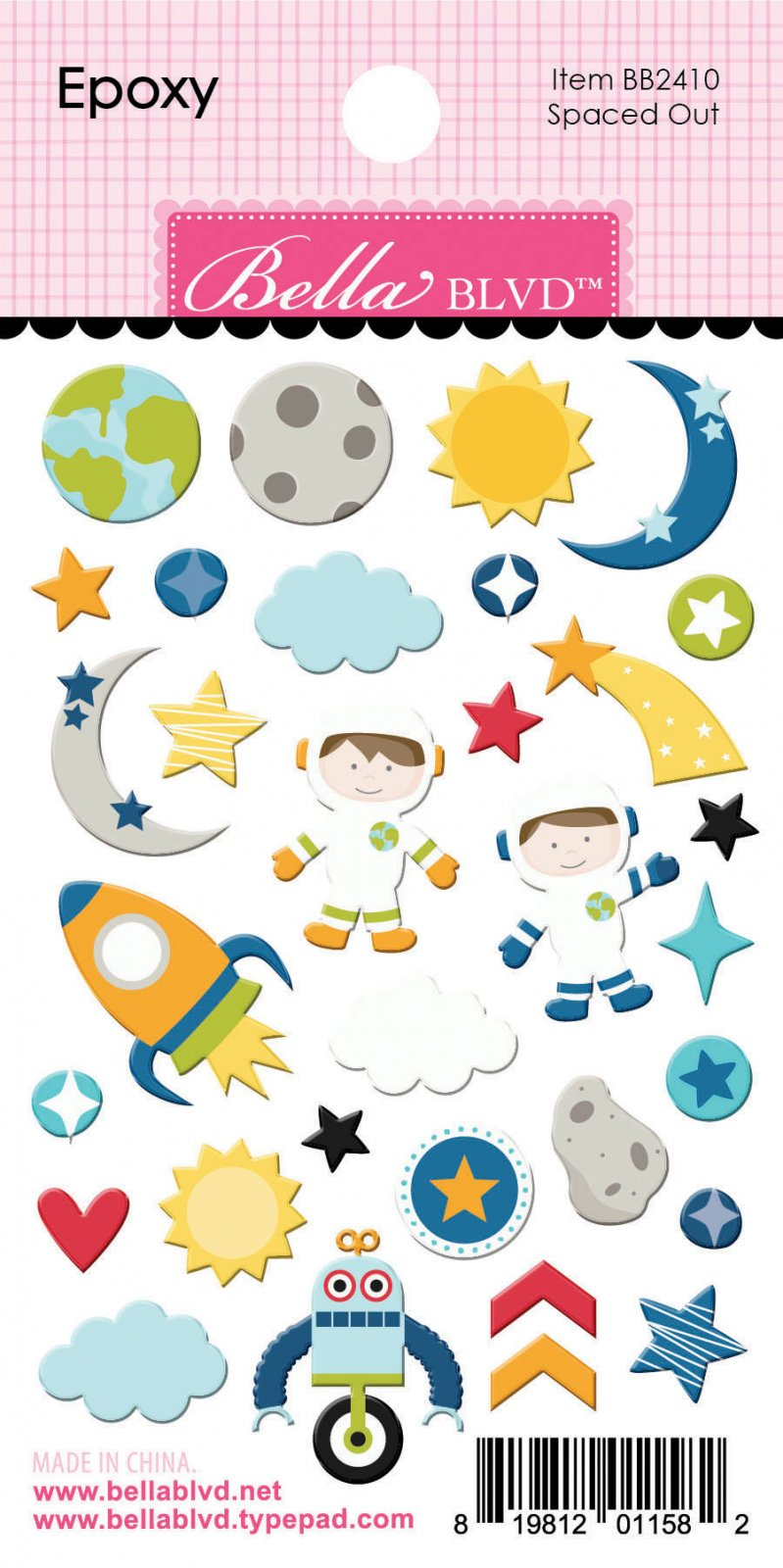 To The Moon - Spaced Out Epoxy Stickers