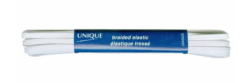 UNIQUE Braided Elastic 3mm x 3.7m - White