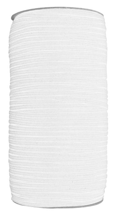 UNIQUE Braided Elastic 3mm x 320m Roll - White