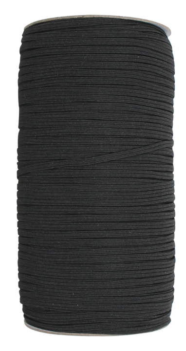 UNIQUE Braided Elastic 3mm x 320m Roll - Black