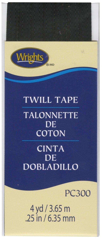 Twill Tape 1/4 Inch Wide - Black