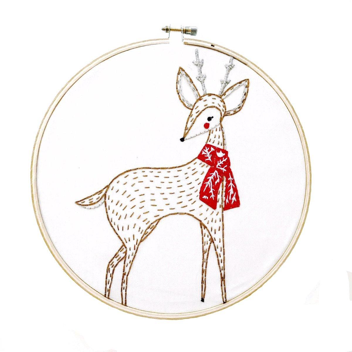 Embroidery Sampler Merriment Deer - Gingiber