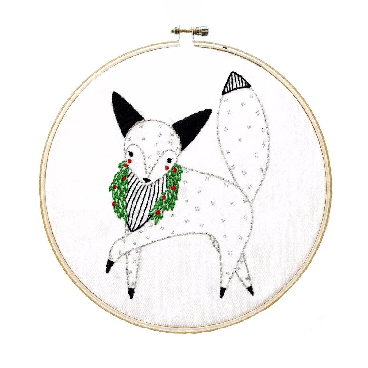 Embroidery Sampler Merriment Arctic Fox - Gingiber