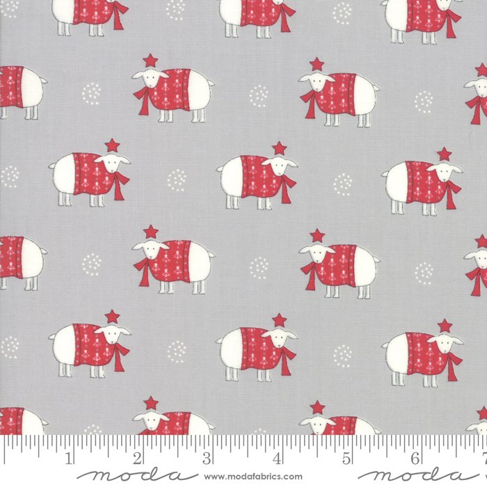 Fabric Country Christmas Sheep - Dusty Grey