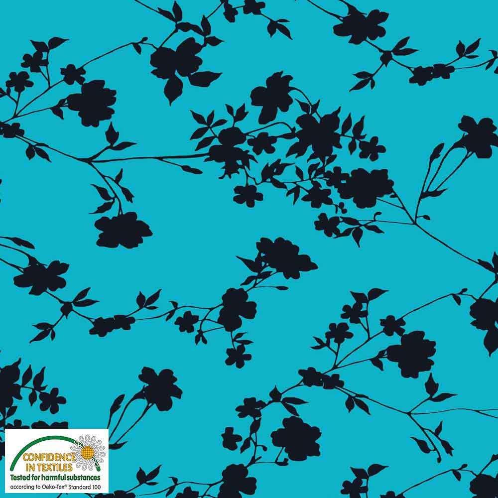 Fabric Stof Avalana Jersey - Bold Floral on Aqua