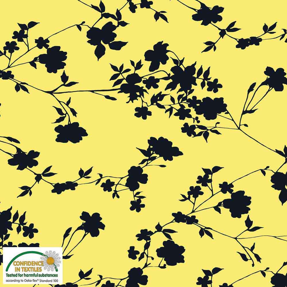 Fabric Stof Avalana Jersey - Bold Floral on Yellow