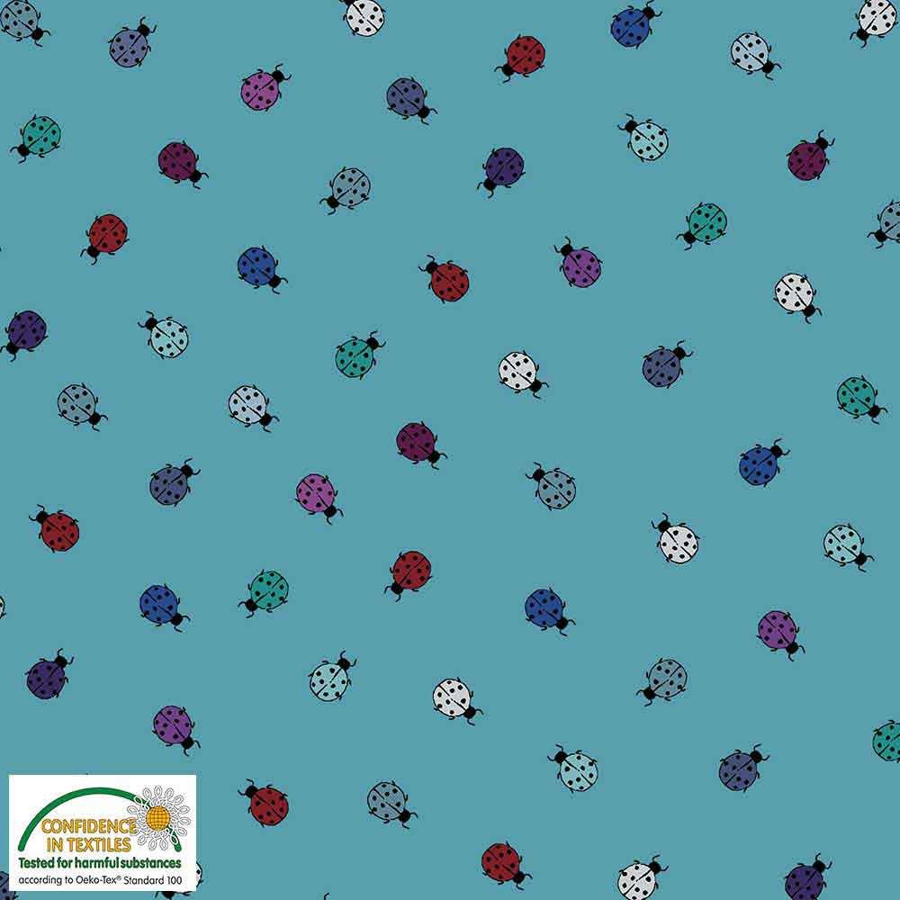 Fabric Stof Avalana Jersey - Blue Ladybugs