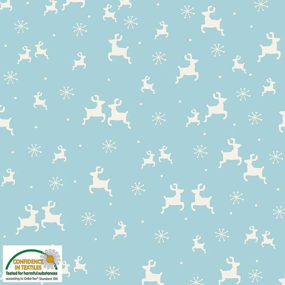 Fabric Stof Avalana KNIT Jersey - Reindeer on Aqua Blue