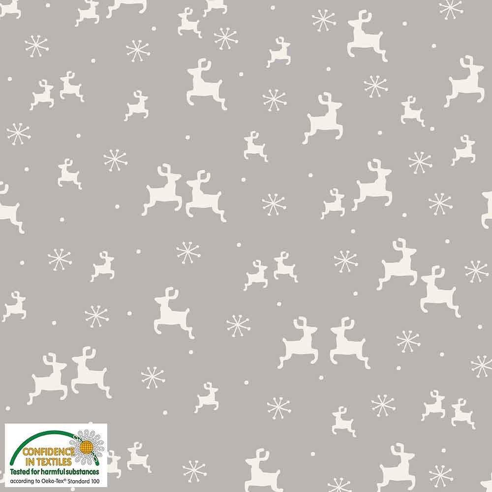 Fabric Stof Avalana KNIT Jersey - Reindeer on Grey