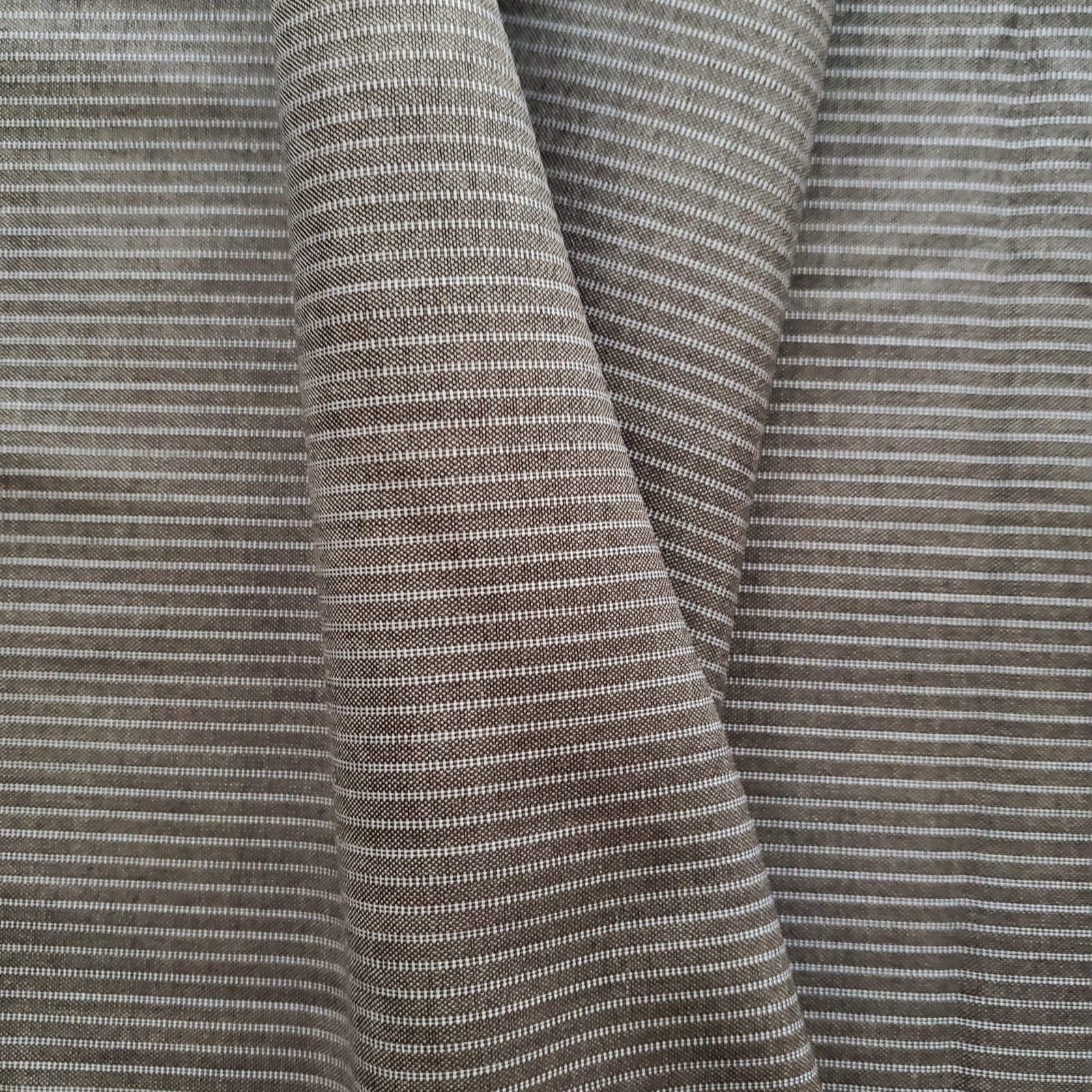 Fabric Wool Suiting Gray on Gray Pinstripe
