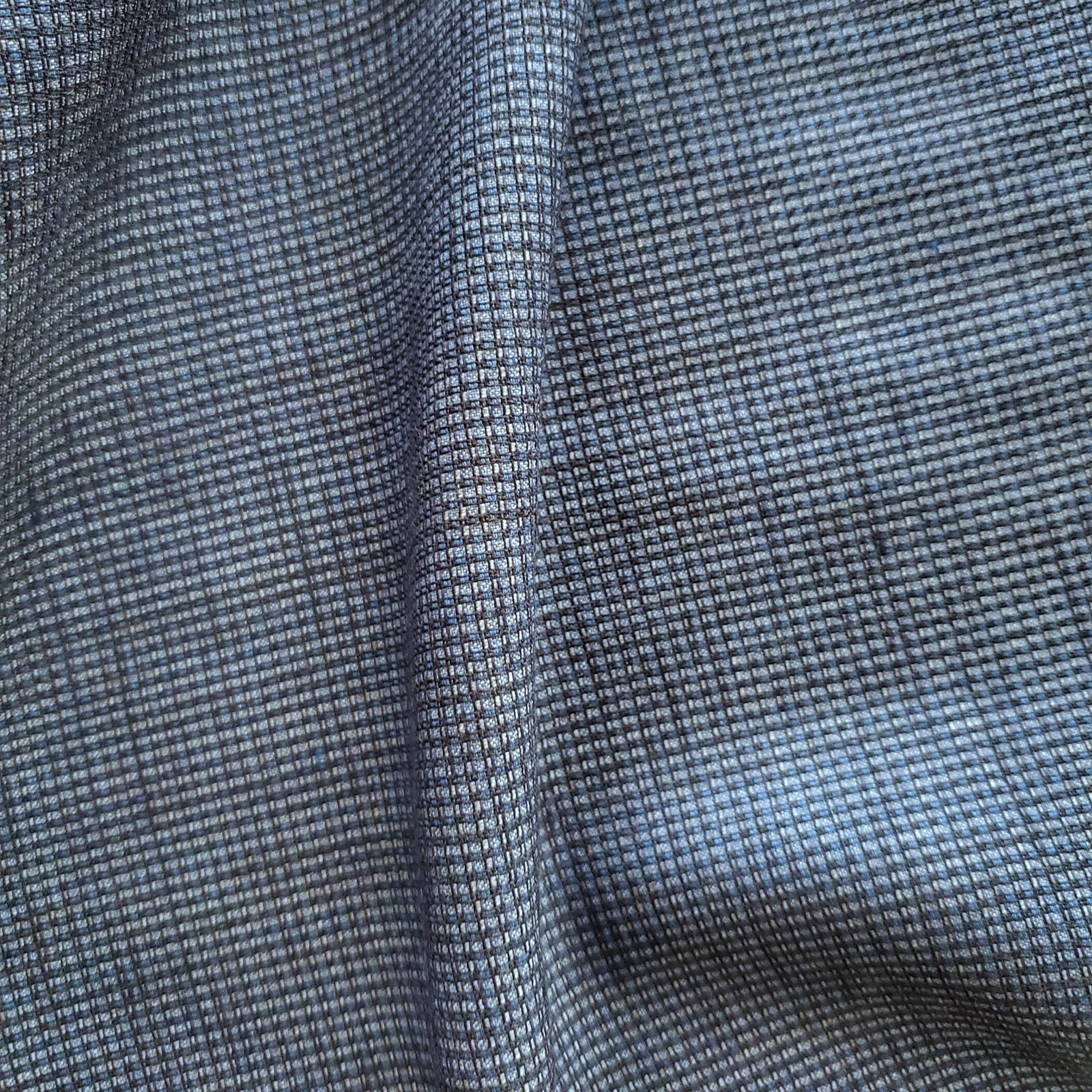 Fabric Wool Suiting Blue Micro-check