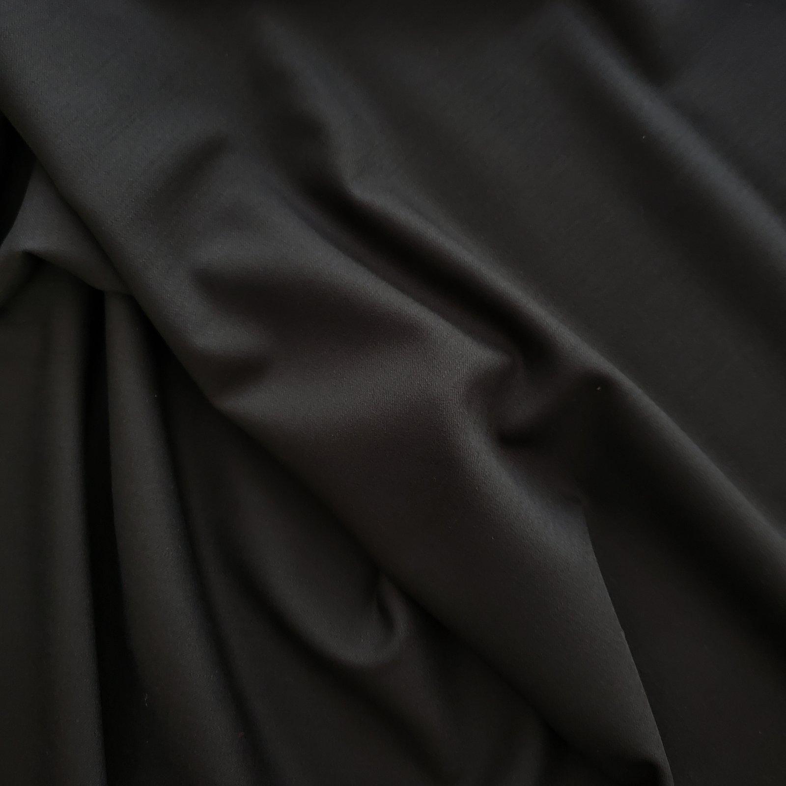 Fabric Wool Suiting Black Stretch Italian Import