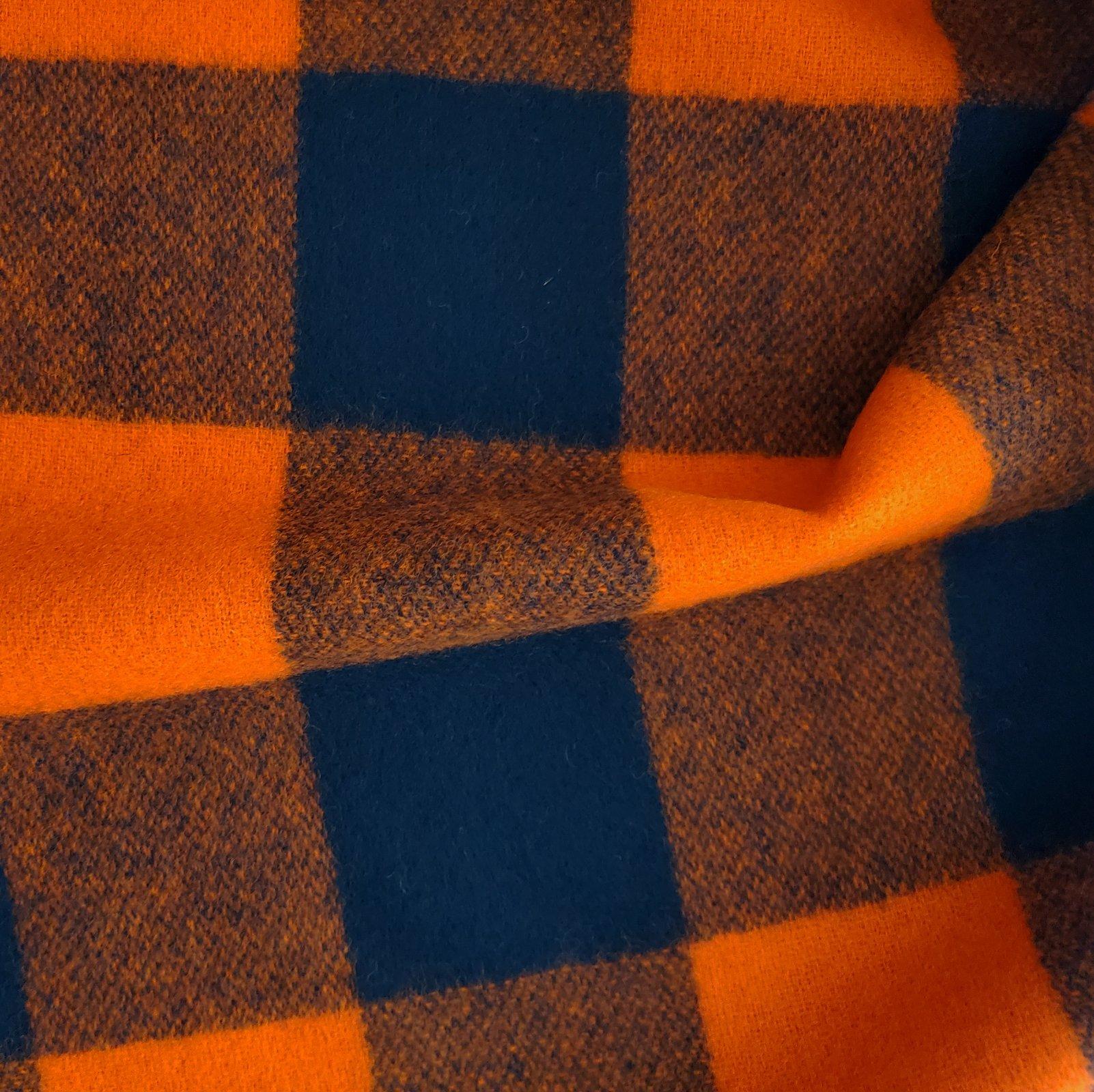 Fabric Wool Coating Blaze Orange/Black Buffalo Check