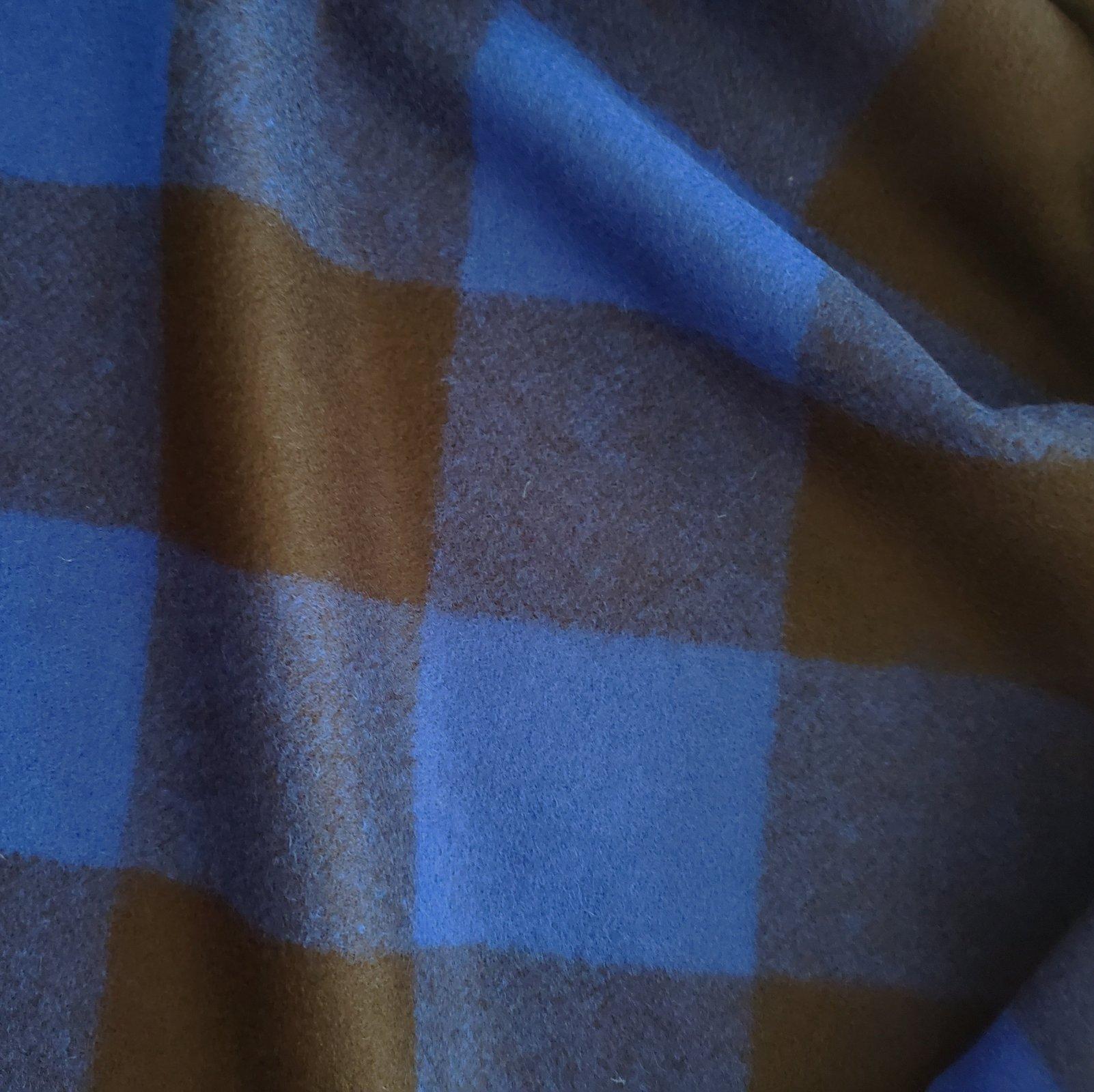 Fabric Wool Coating Blue/Black Large Buffalo Check