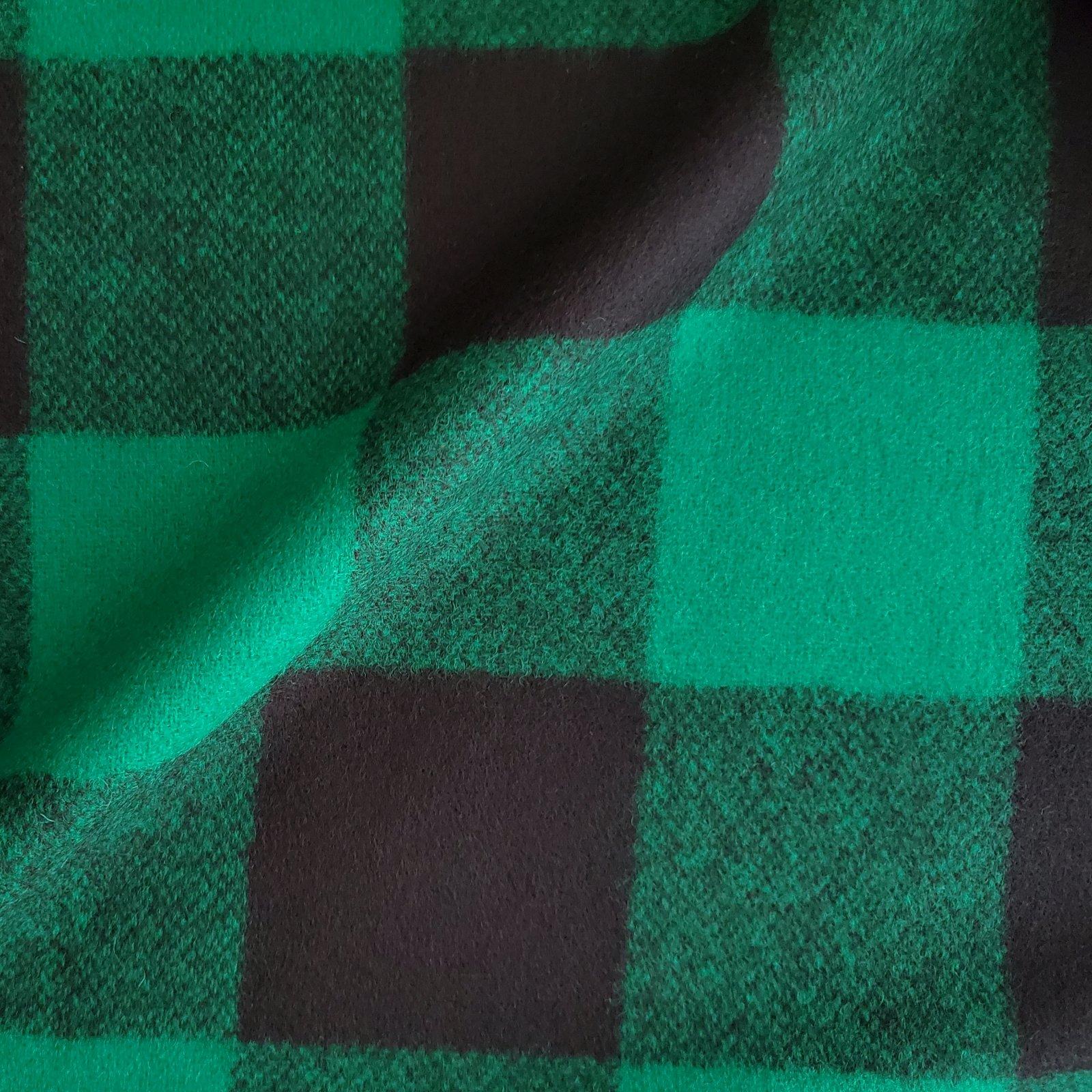 Fabric Wool Coating Green/Black Buffalo Check