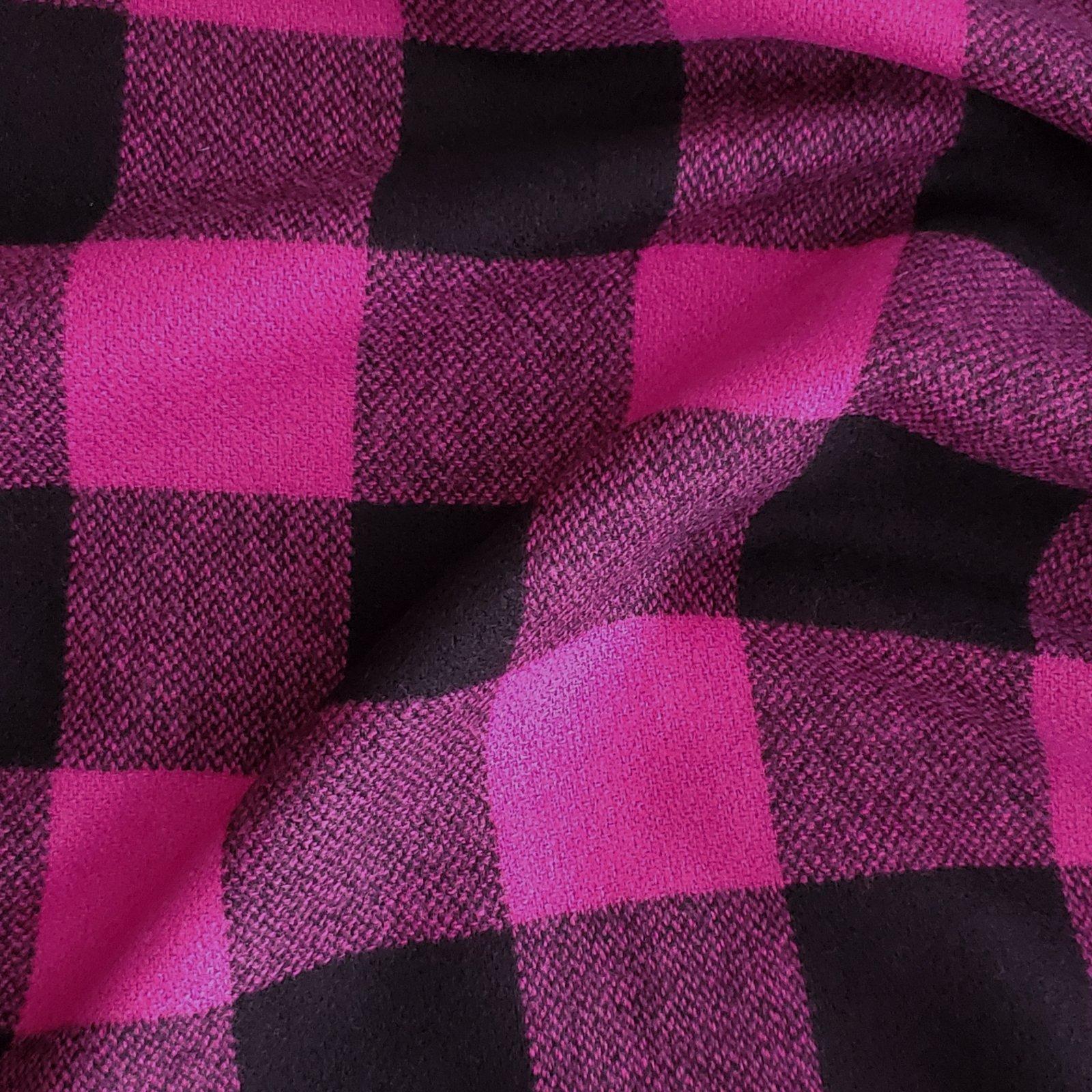 Fabric Wool Fuchsia/Black Buffalo Check