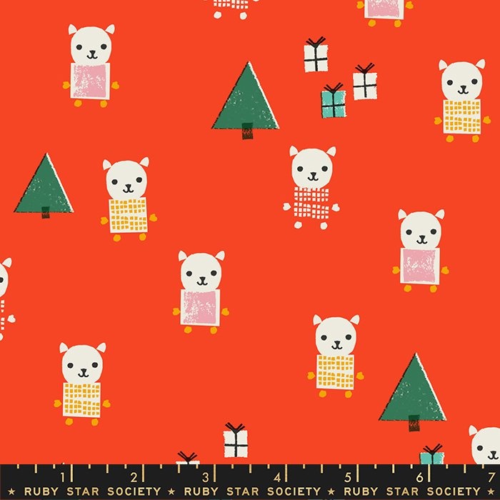 Fabric Meowy Christmas - Cats on Red