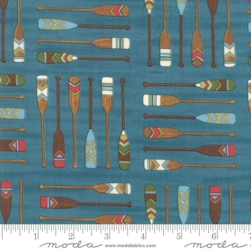 Fabric Explore Canoe Paddles Teal REMNANT 15 inches