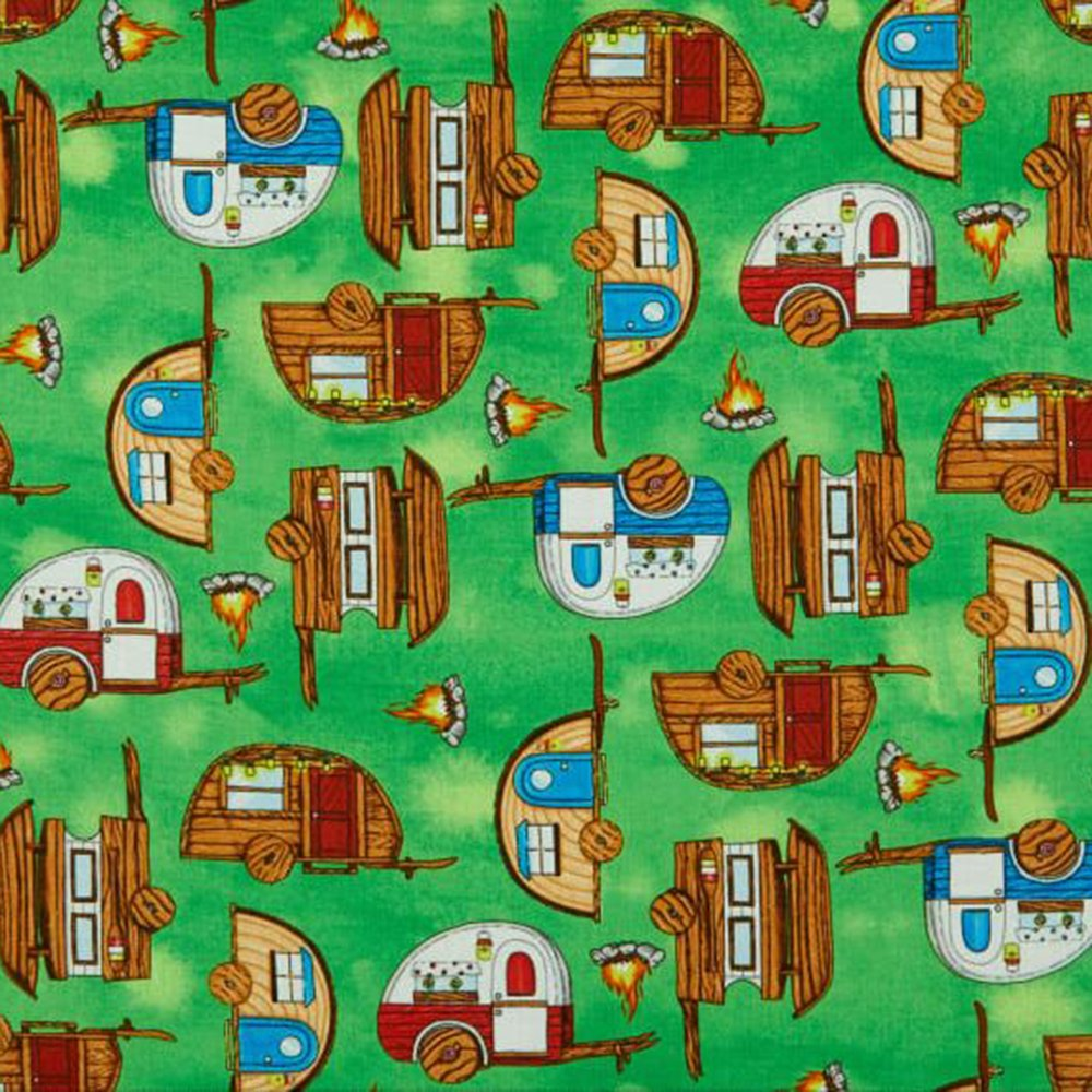 Campers on Green - Cotton Print