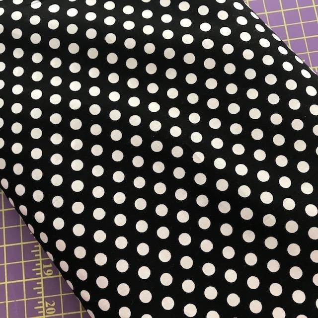Fabric Cotton Black/White Polka Dot Shirting