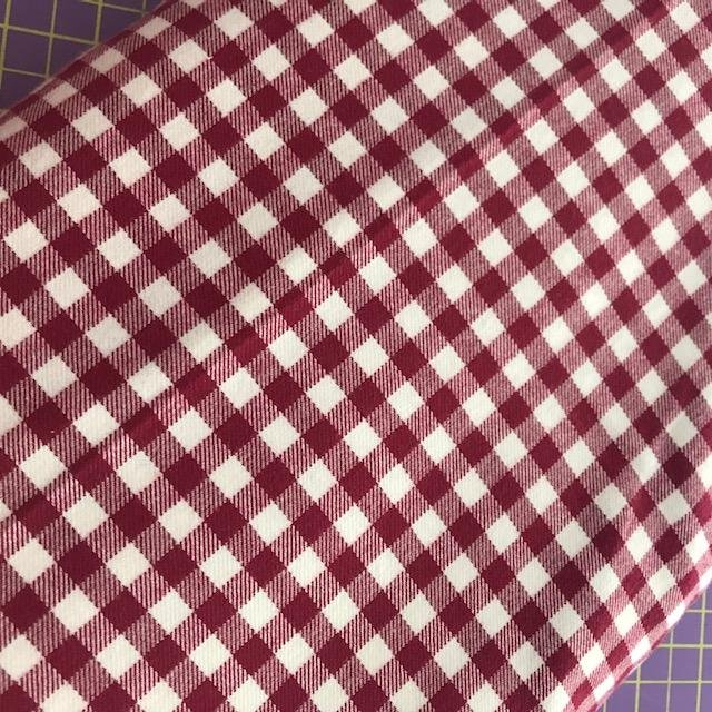Fabric Cotton Red/Wht Gingham brushed