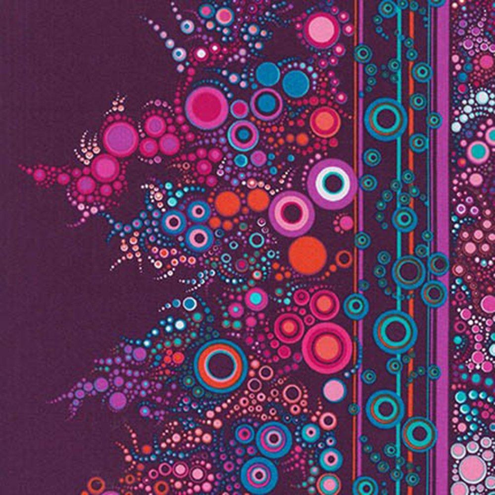 Effervescence (Boysenberry) - Cotton Border Print