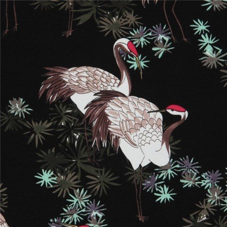 Fabric Stof Avalana Jersey - Cranes in the Garden