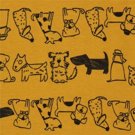 Fabric Stof Avalana Jersey - Dogs on Yellow