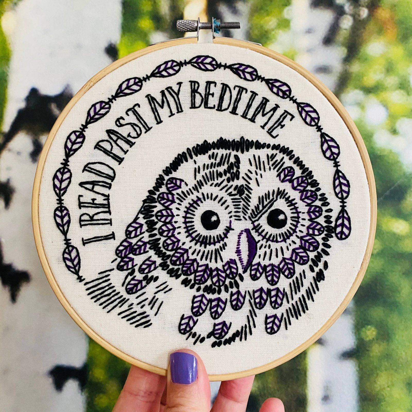 Embroidery Kit - I Read Past My Bedtime - Hook, Line & Tinker