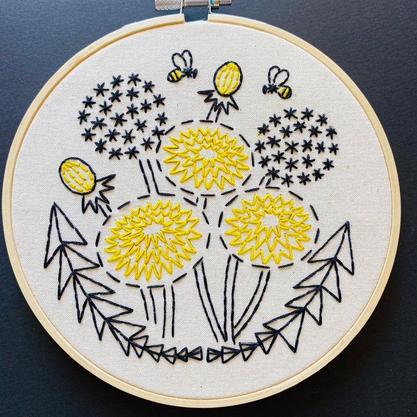 Embroidery Kit - Bee Kind Dandelion - Hook, Line & Tinker
