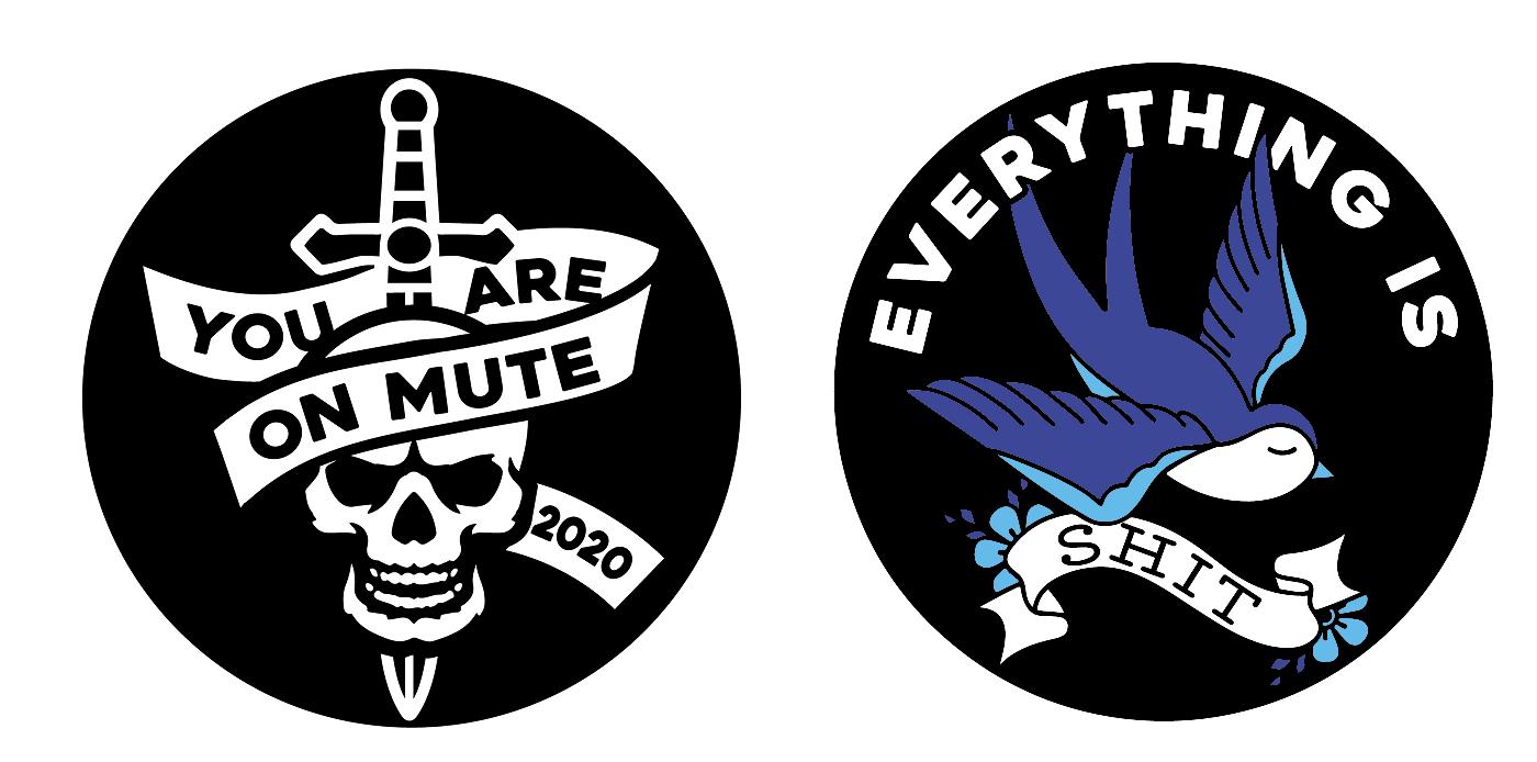 Pin Set Skull/Bluebird